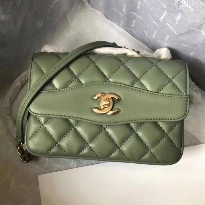 62f21379e677 Chanel Daily Companion Lambskin Small Flap Bag A57027 Green 2018  #Chanelhandbags