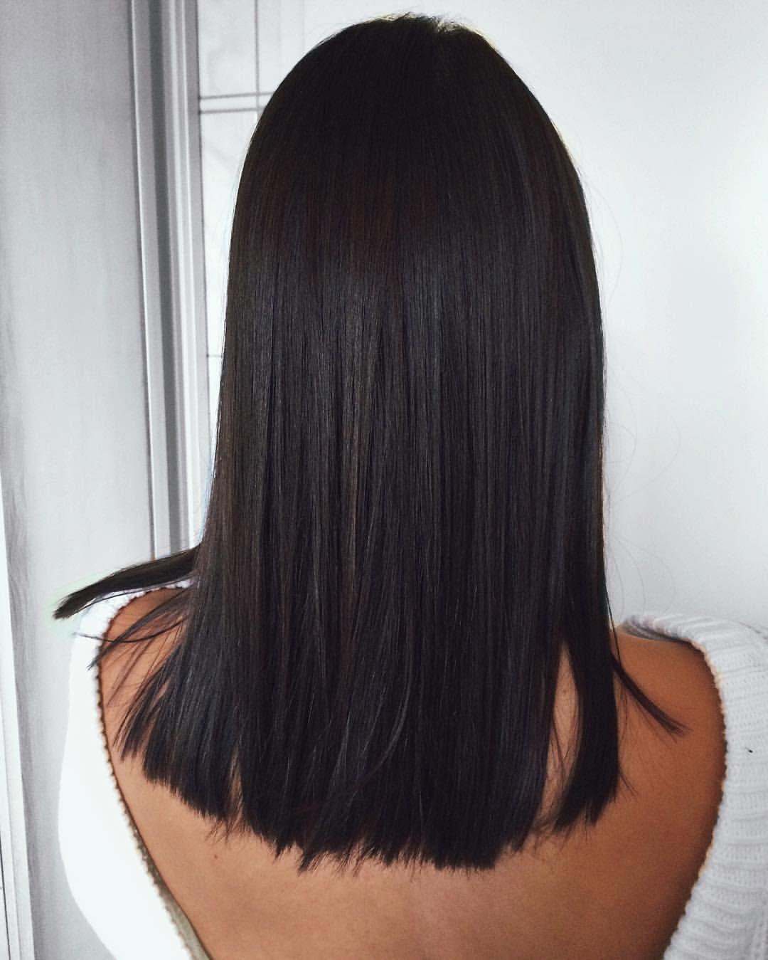 Brunette Dark Brown Black Balayage Medium Straight Brunette Hair Color Short Hair Balayage Straight Hairstyles