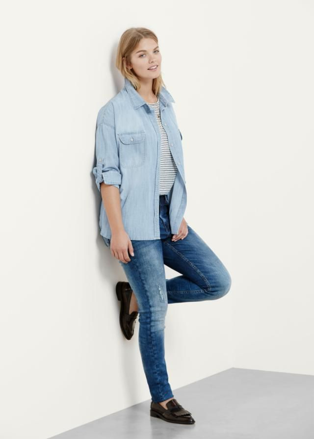 4b5136343 How to Wear Skinny Jeans if You're Not Skinny: Play With the Double Denim  Trend