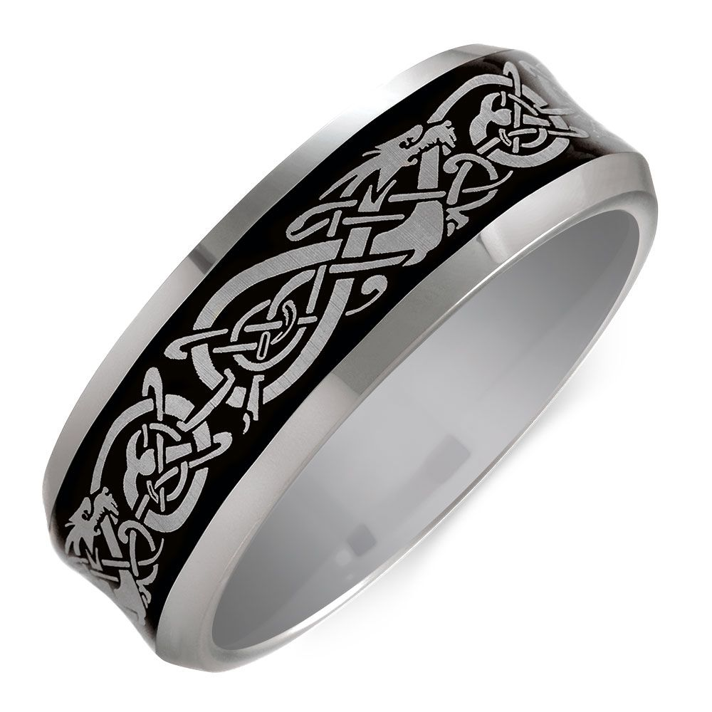 Designed With You In Mind This Patterned Tungsten Ring Featuring A Grey Celtic Design Is Mens Wedding