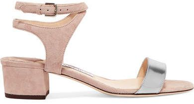 Marine 35 Suede And Metallic Leather Sandals - Neutral Jimmy Choo London ypA8Sm0NAq