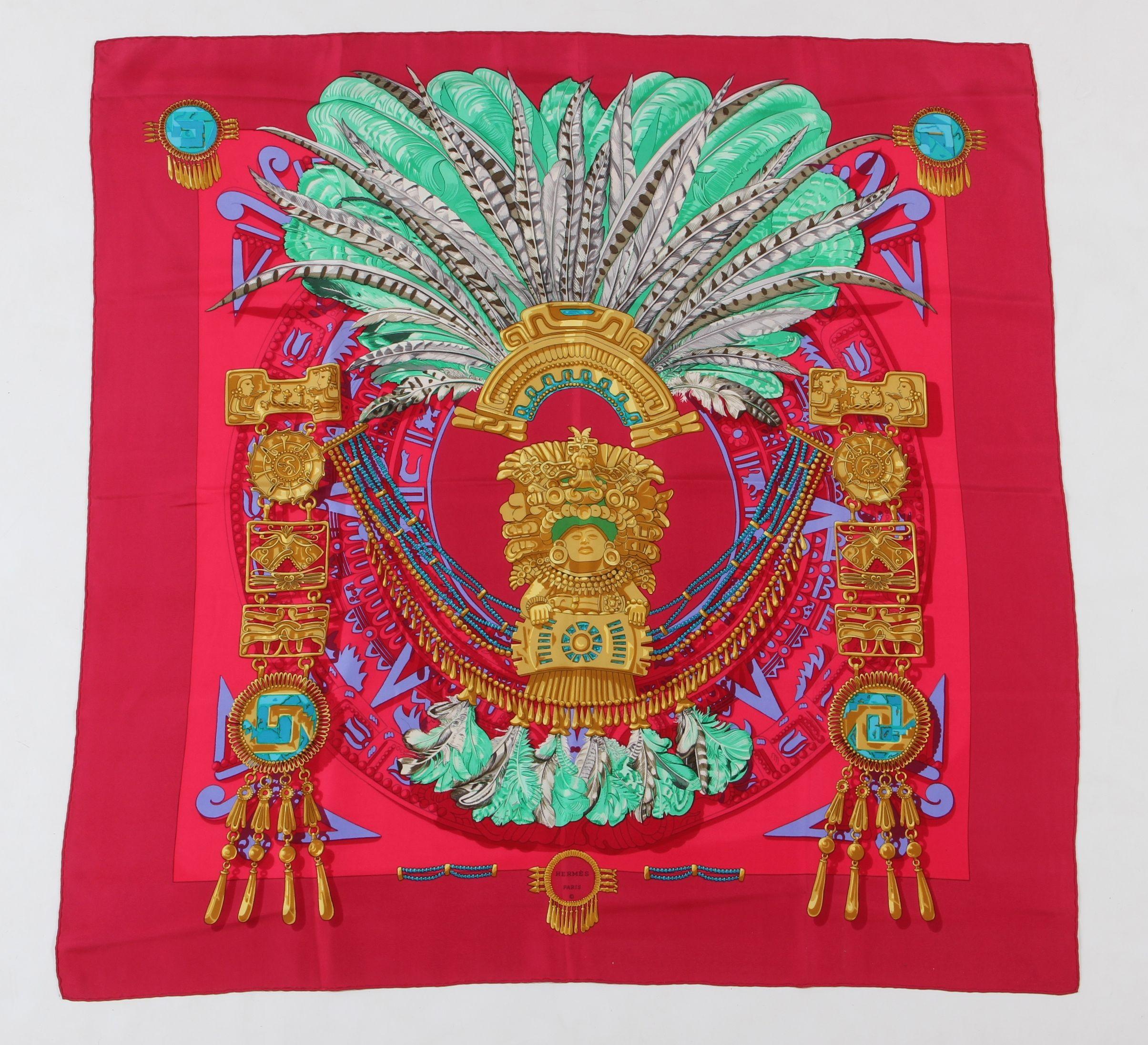 "Silk Scarf ""Mexique"", Hermes Sold $260 Leland Little Auctions - www.lelandlittle.com"