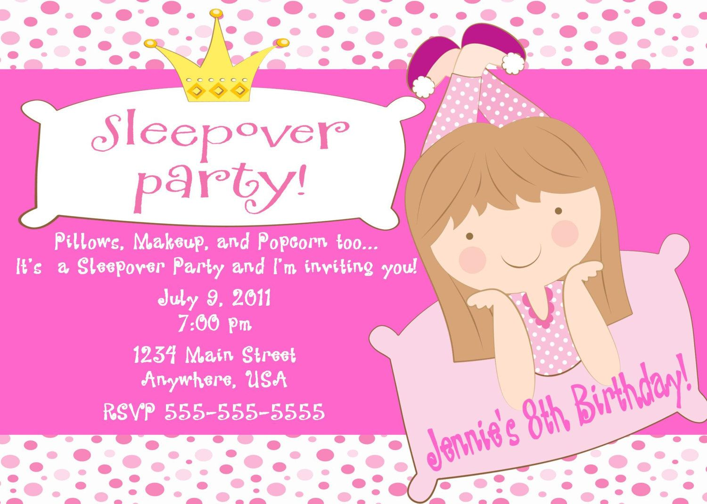 Free Printable Sleepover Birthday Party Invitations Girls | Slumber ...