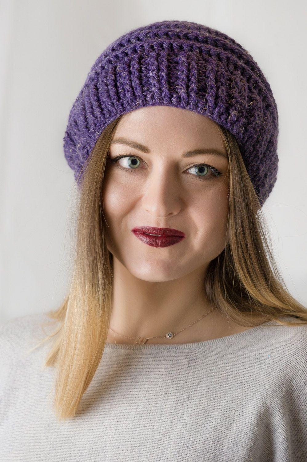f13f70856de2a2 Purple Hat, Purple Hat Women, Purple Beanie, Slouch Beanie, Slouch Hat,  Crochet Beanie, Slouchy Beanie, Gift Ideas for Women, Beanies Women
