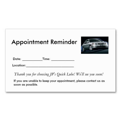 appointment reminders business card business card templates business cards and business. Black Bedroom Furniture Sets. Home Design Ideas