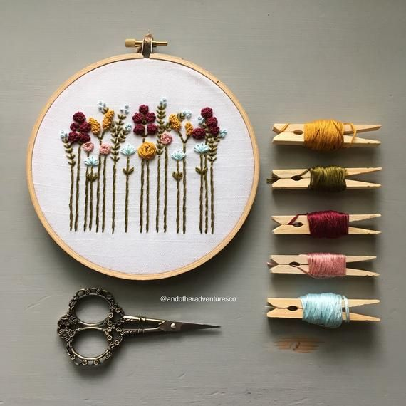 Beginner Hand Embroidery KIT - DIY Embroidery Kit, Floral Hoop Art, Autumn Wildflowers, Fall Colors, Modern Floral Embroidery Pattern #embroiderypatternsbeginner