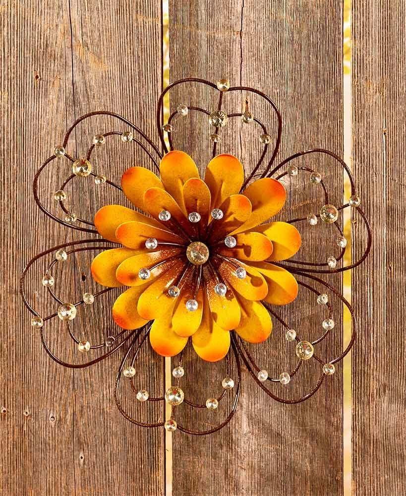 Turquoise Bloom Metal Wall Art Metal Flowers Handcrafted Wall Art Metal Wall Art