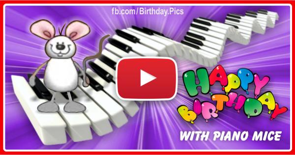 Piano Mice Happy Birthday Video Card