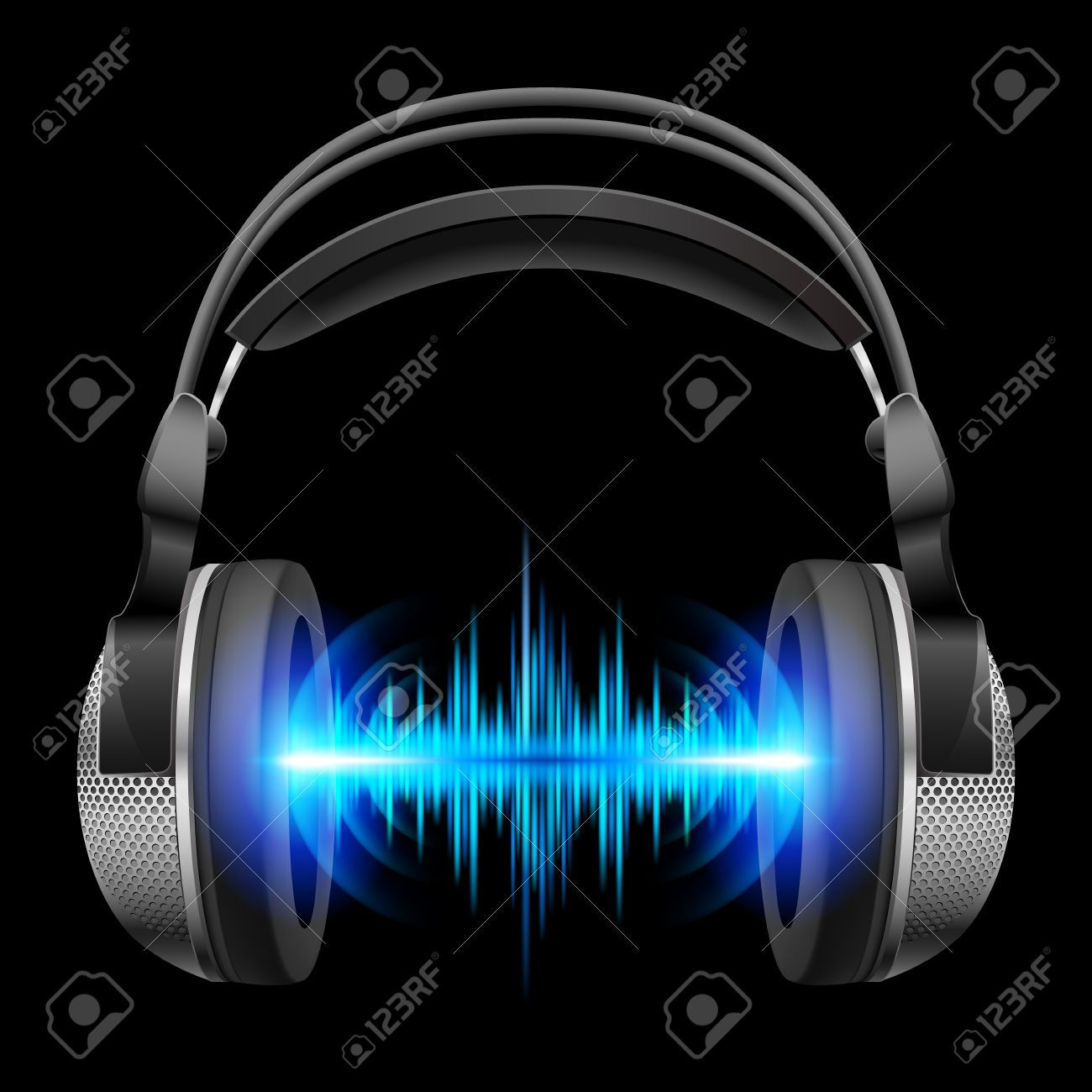 Headphones With Blue Sound Waves Illustration On Black Background Wave Illustration Sound Waves Music Cover Photos