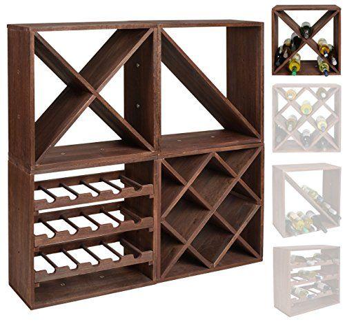ts-ideen Weinregal Dunkelbraun f/ür 24 Flaschen Flaschenregal Holz Wein Regal Board