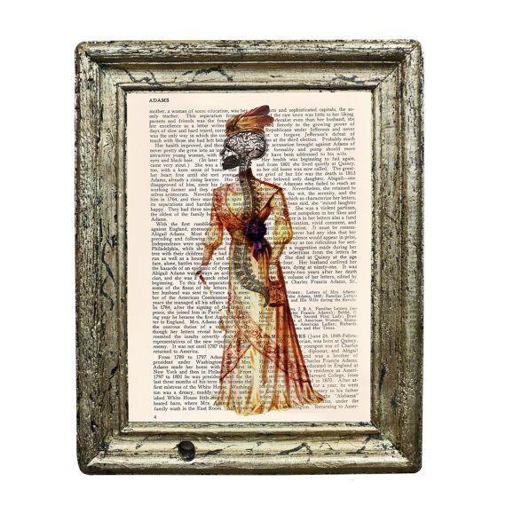 Skeleton Spine Victorian Lady Original Collage Print by AvantPrint, $7.00