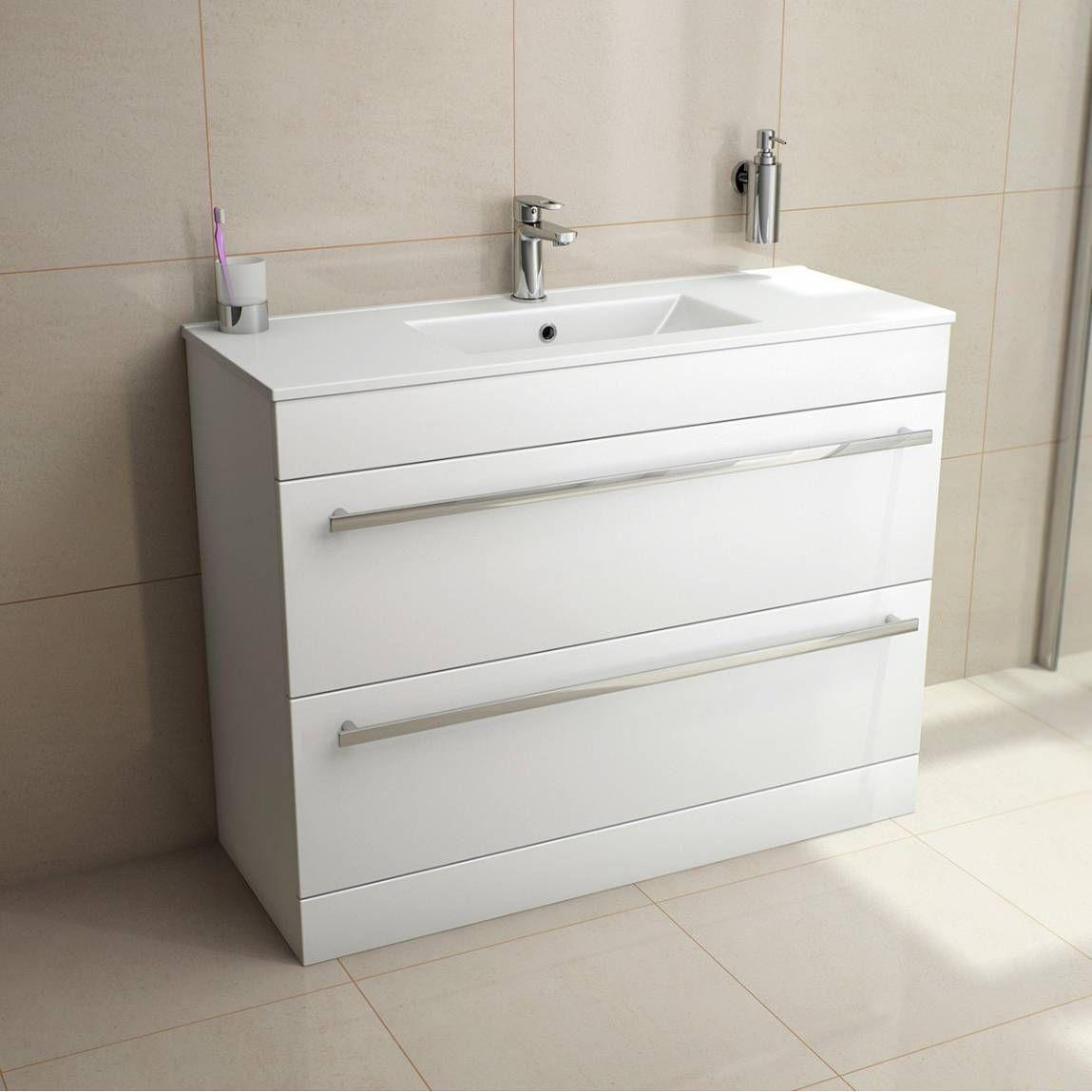 Odessa White Vanity Drawer Unit And Basin 1000mm Vanity Units