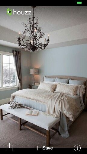 Elegant Bedroom Ideas Mesmerizing Traditional Bedroom Remodel Ideas With Light Blue Wall Paint Color Also White Fabric Wooden Bench Also Gorgeous Chandelier Design Contemporary - Amazing Blue and Grey Bedroom Top Design