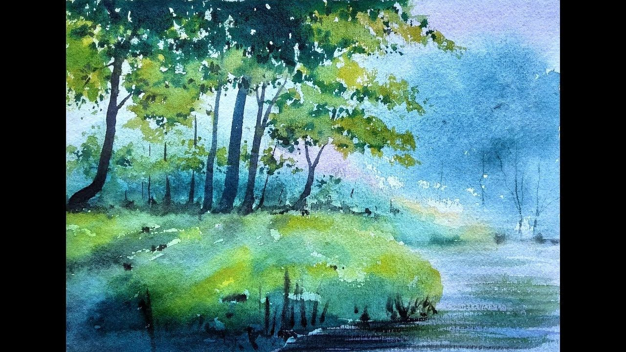 Watercolor Painting Landscape Trees Silhouetted Against A Lake