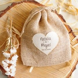 4ed722f32 Saquito de yute con corazon personalizado para bodas | JABONES ...