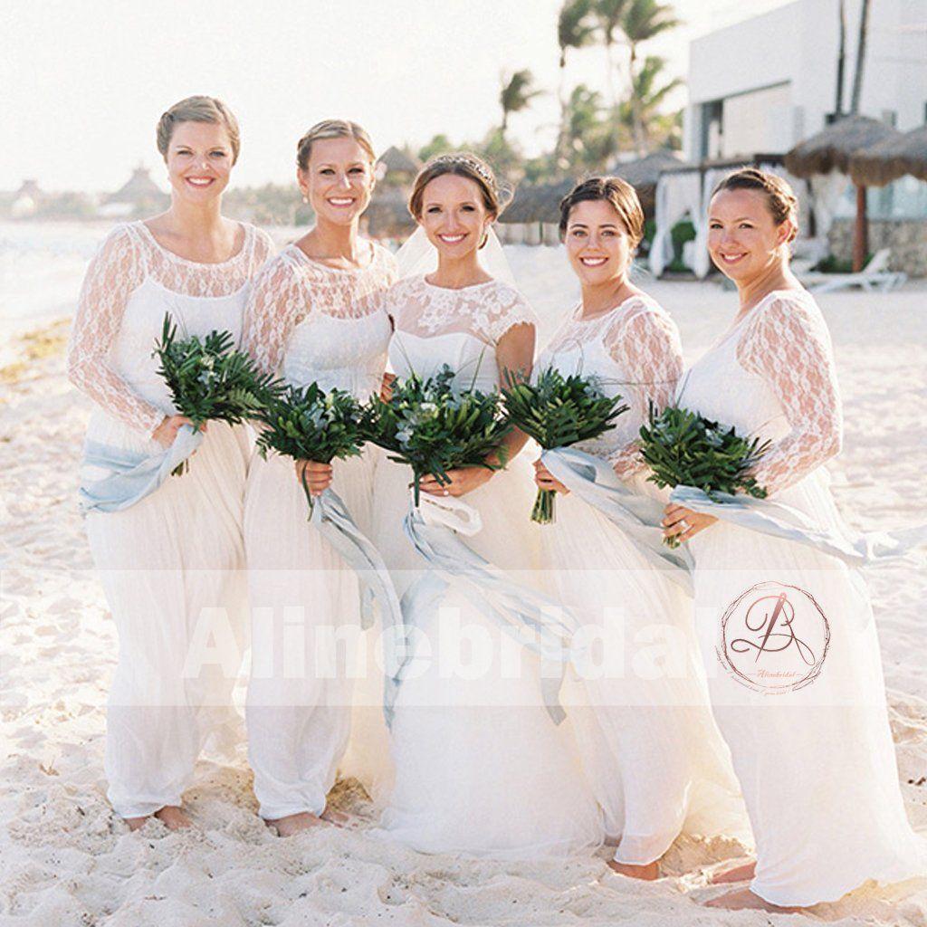 Charming ivory lace long sleeve round neck aline bridesmaid dresses
