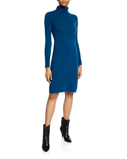 cashmere Neiman Marcus Cashmere Collection Cashmere Long-Sleeve Turtleneck Dress cashmere turtleneck