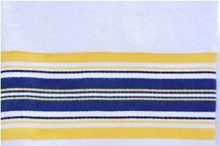 Navy Yellow Stripes Towel Monogrammed Personalized Bath Towel