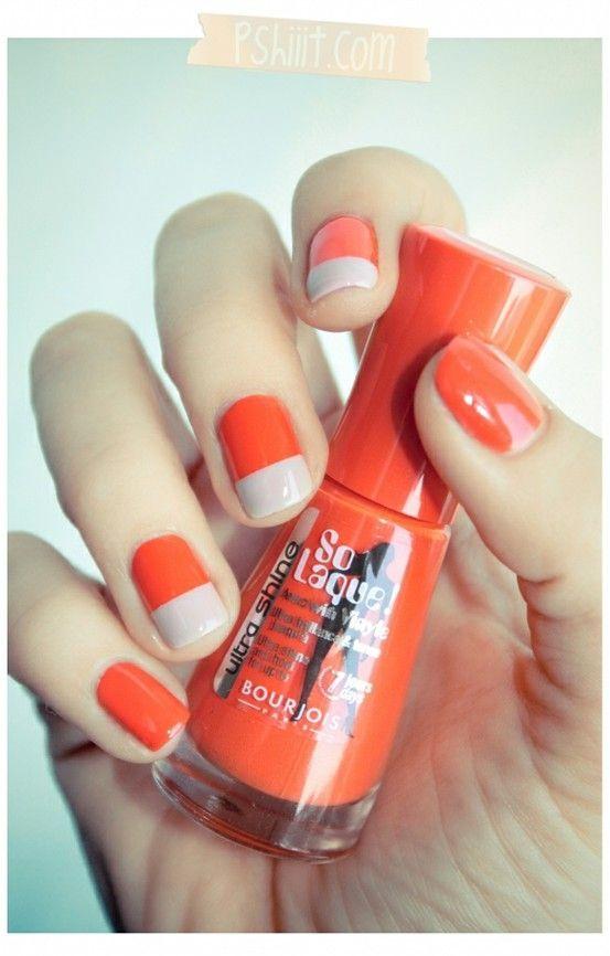 Orange White Nails Color Block Nails Nail Polish Orange Nails