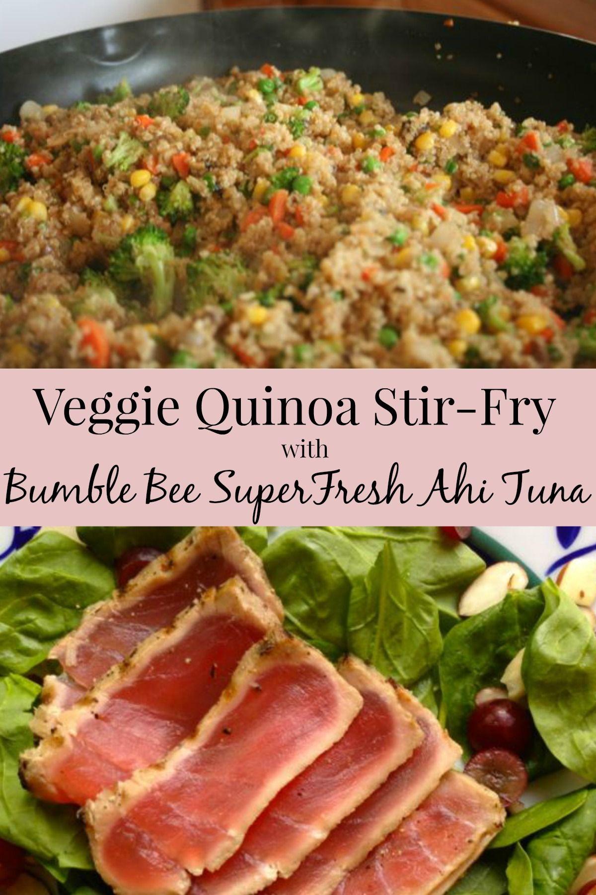 Instead of fried rice, I made a veggie quinoa stir-fry to pair with Bumble Bee SuperFresh Seared Ahi Tuna® (ad) #BBSuperFresh #SeaFoodies