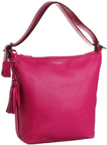 Coach Leather Legacy Zip Duffle Handbag 19889 Fuchsia Pink  0da575616a8de