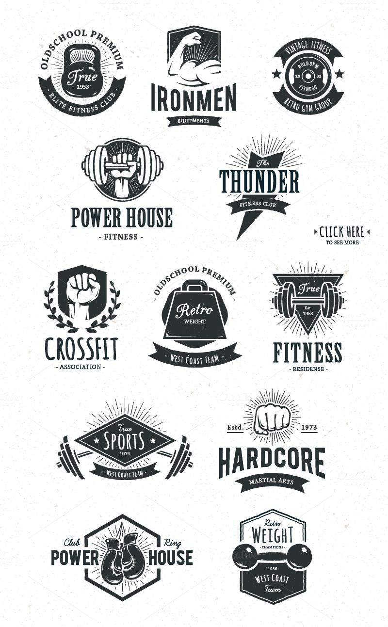 Retro Gym Logo Templates by Vecster on creativemarket