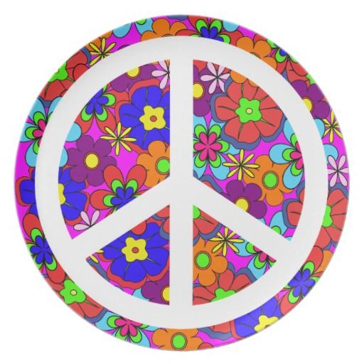Peace Sign Hippy Retro Flowers Dinner Plates $29.95 Colorful retro funky style flowers hippy style  sc 1 st  Pinterest & Peace Sign Hippy Retro Flowers Dinner Plates $29.95 Colorful retro ...