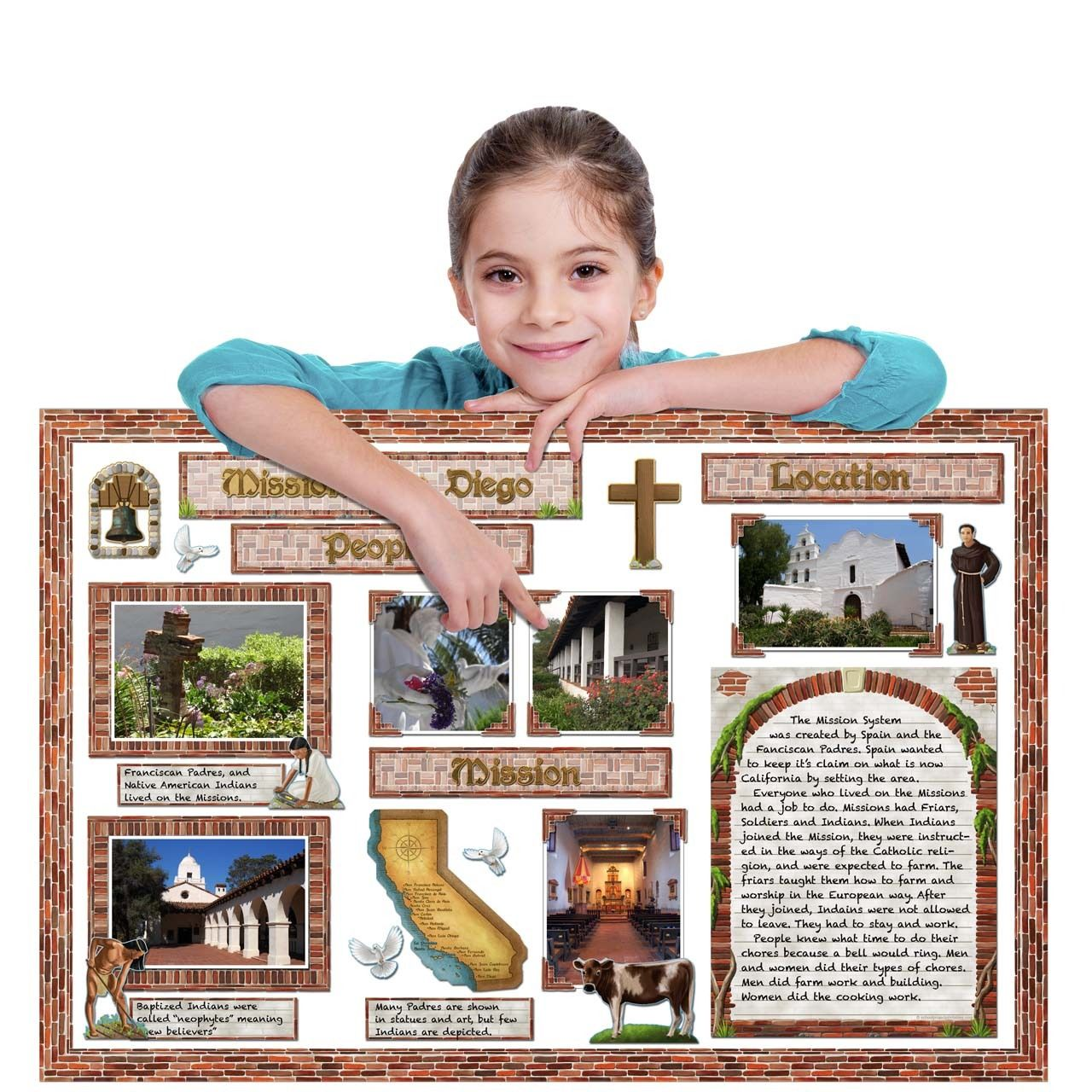 Poster design ideas for school projects - California Mission Brick Poster Pack Ready To Use School Project Printables