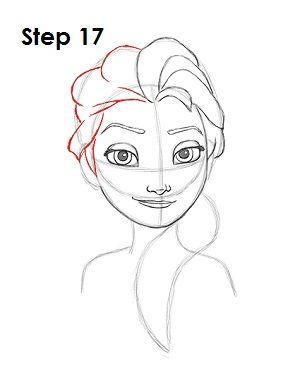 draw elsa frozen step 17