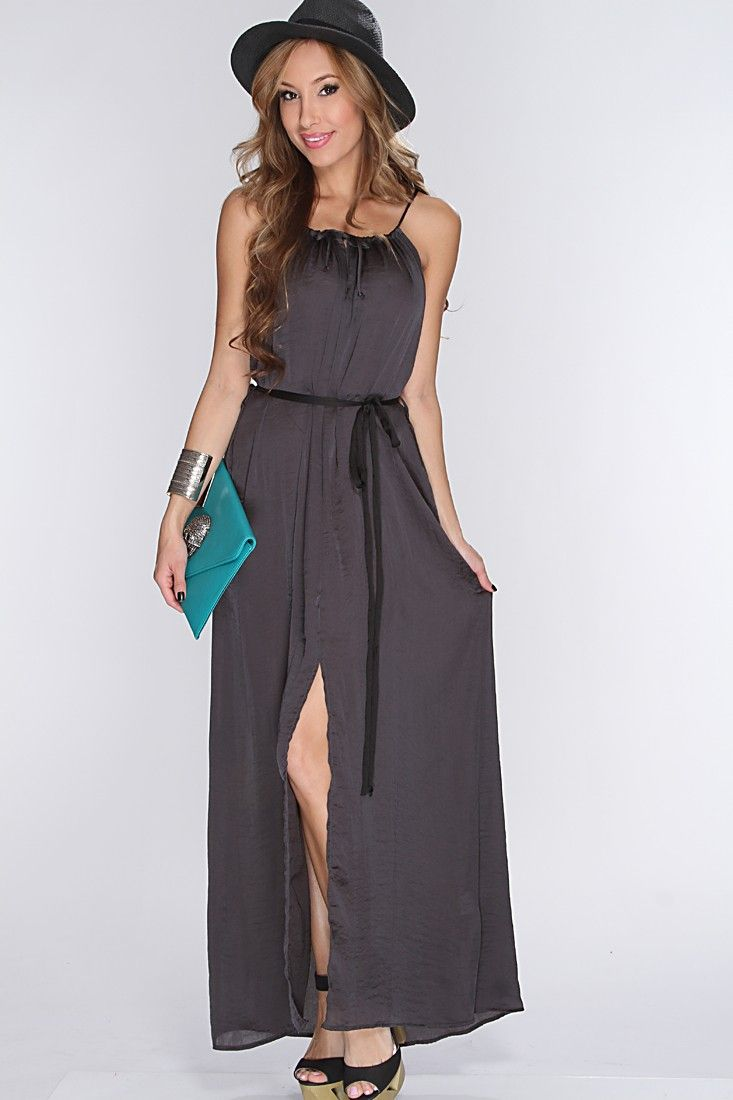 Head out to the beach in this sexy maxi dress! Its comfortable yet very stylish. Girls wont be able to resist on asking you where you bought this beauty! Dress it up with cute summer wedges or sandals for a more laid back look. Featuring spaghetti straps, middle slit, loose fitted, and finished with a waist sash tie. 100% polyester