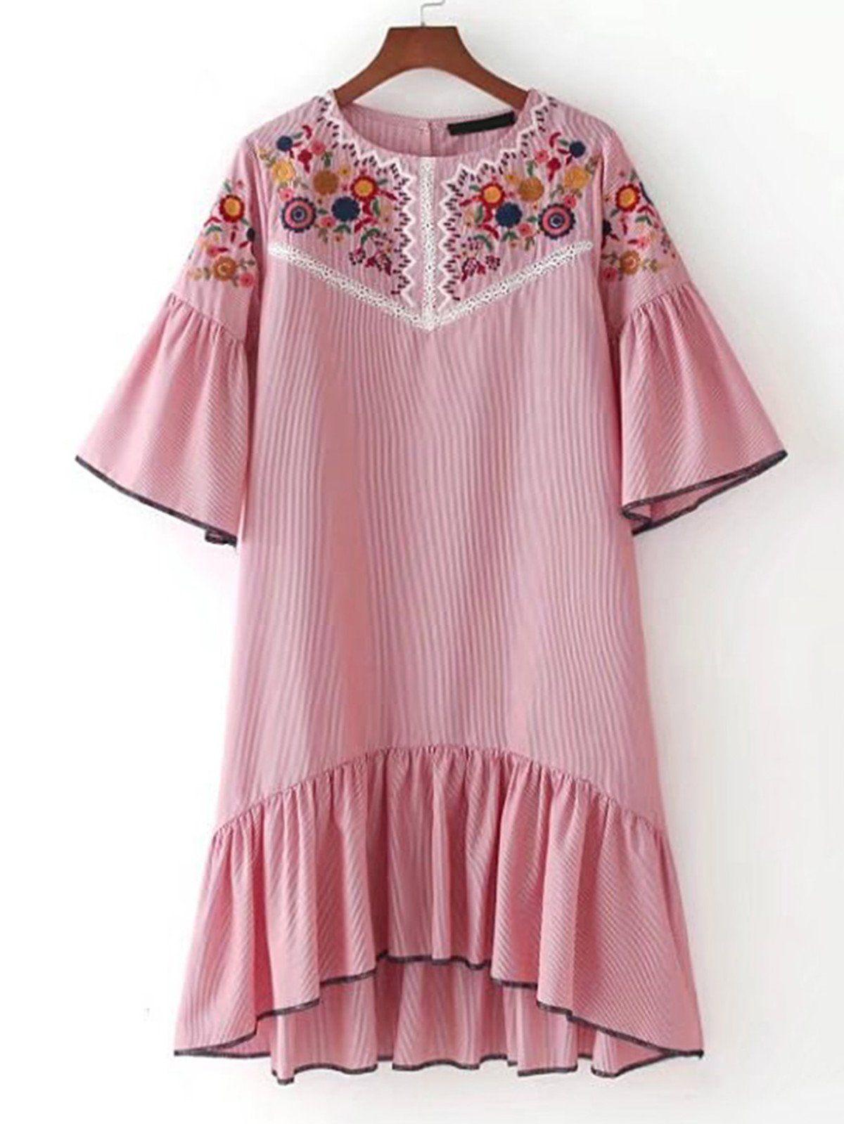 Pink dress design 2018  Bell Sleeve Ruffle Hem High Low Dress  High low Ruffles and Half