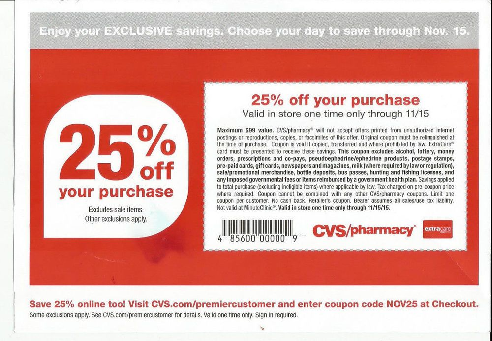 Cvs Coupon 25 Off Your Purchase Exp 11 15 15 Up To 99 Max In Store One Time Beauty Coupons Cvs Couponing Coupons