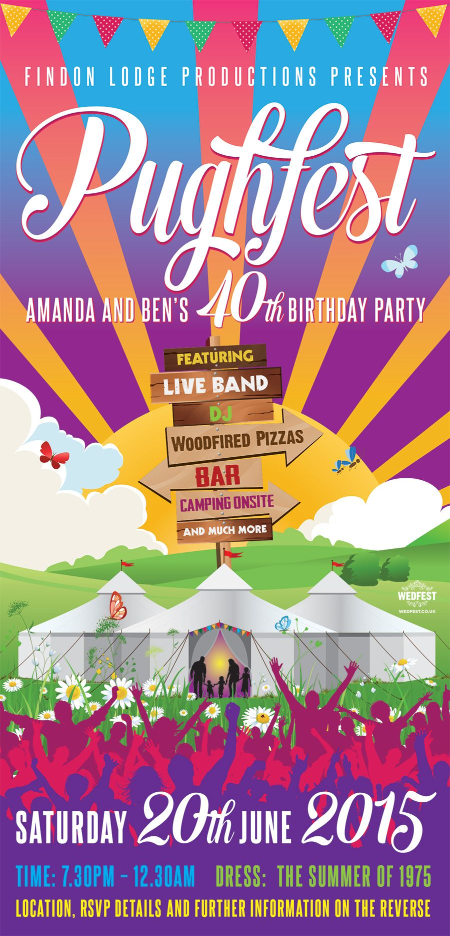 Festival Themed 40th Birthday Invite http://www.wedfest.co ...