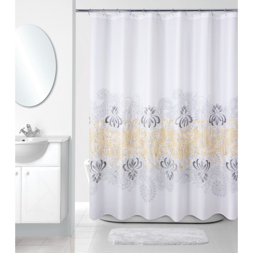 Paisley Border Shower Curtain White Gray Allure Home Creation