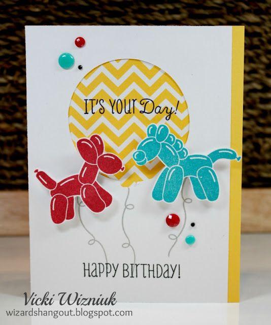 Balloon Animals Birthday Card Wizard S Hangout Kids Birthday Cards Card Making Birthday Birthday Cards