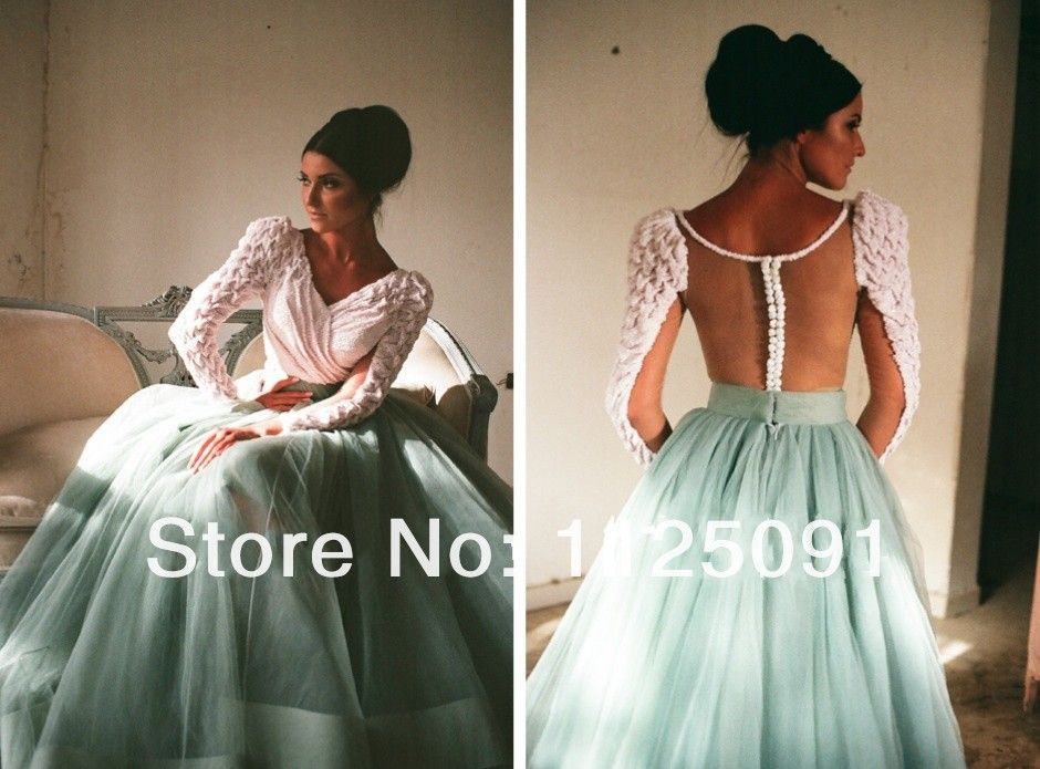 Cheap gown bride, Buy Quality ball gown dresses uk directly from China ball gowns discount Suppliers: Maryam Omaira 2015 Celebrity Dress Red Carpet Dressese Myriam Fares V-Neck Floor Length Long Sleeve White And Green Ball