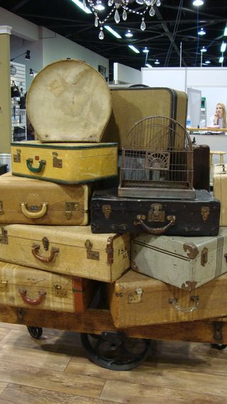 Cha2010 -Tim Holtz display...vintage suitcases #luggage