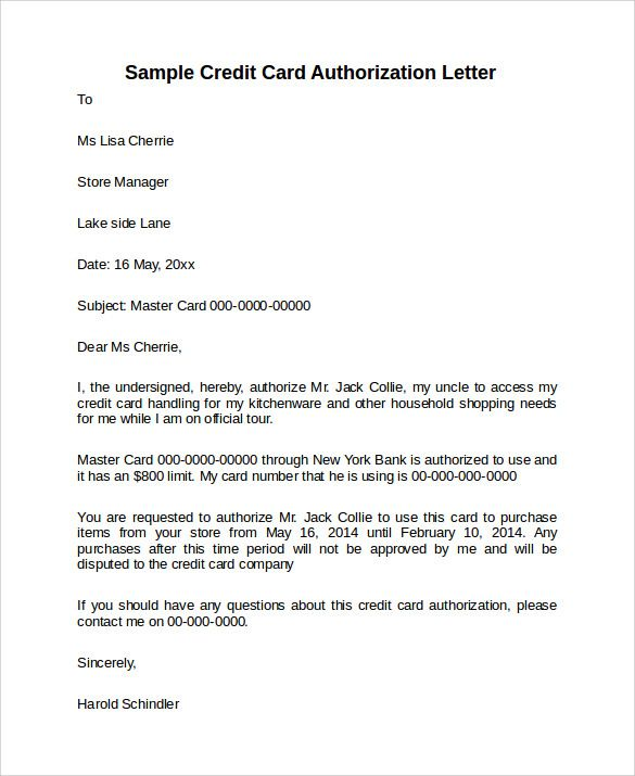 Credit Card Authorization Letter Download Documents Pdf Word