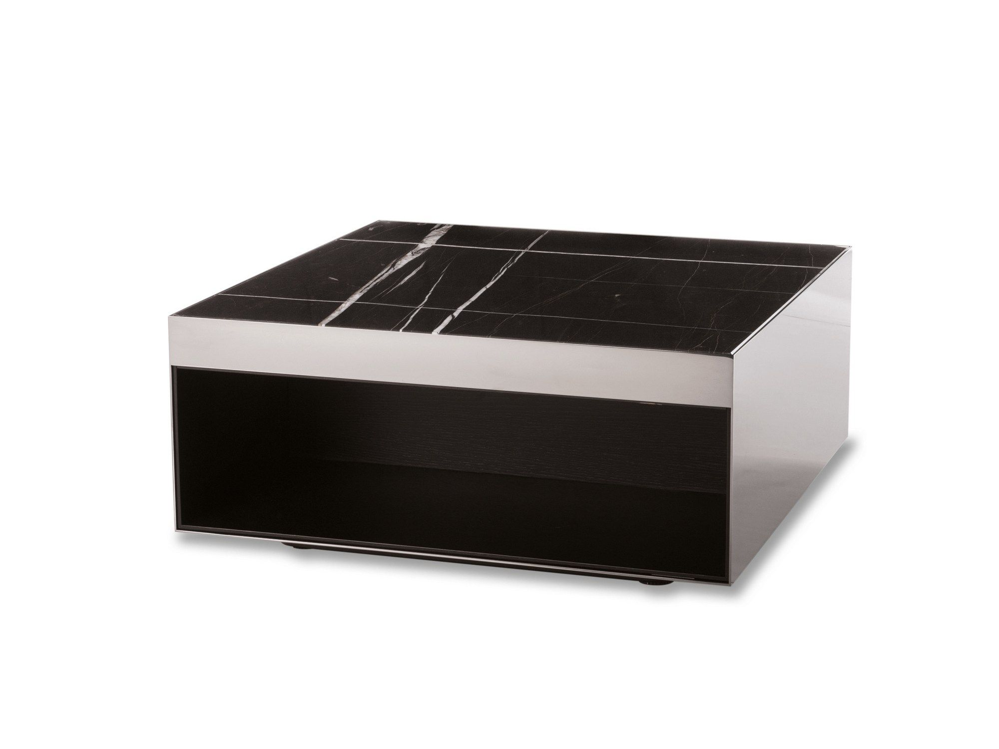 Square Marble Coffee Table With Integrated Magazine Rack Elliot Collection By Minotti Design