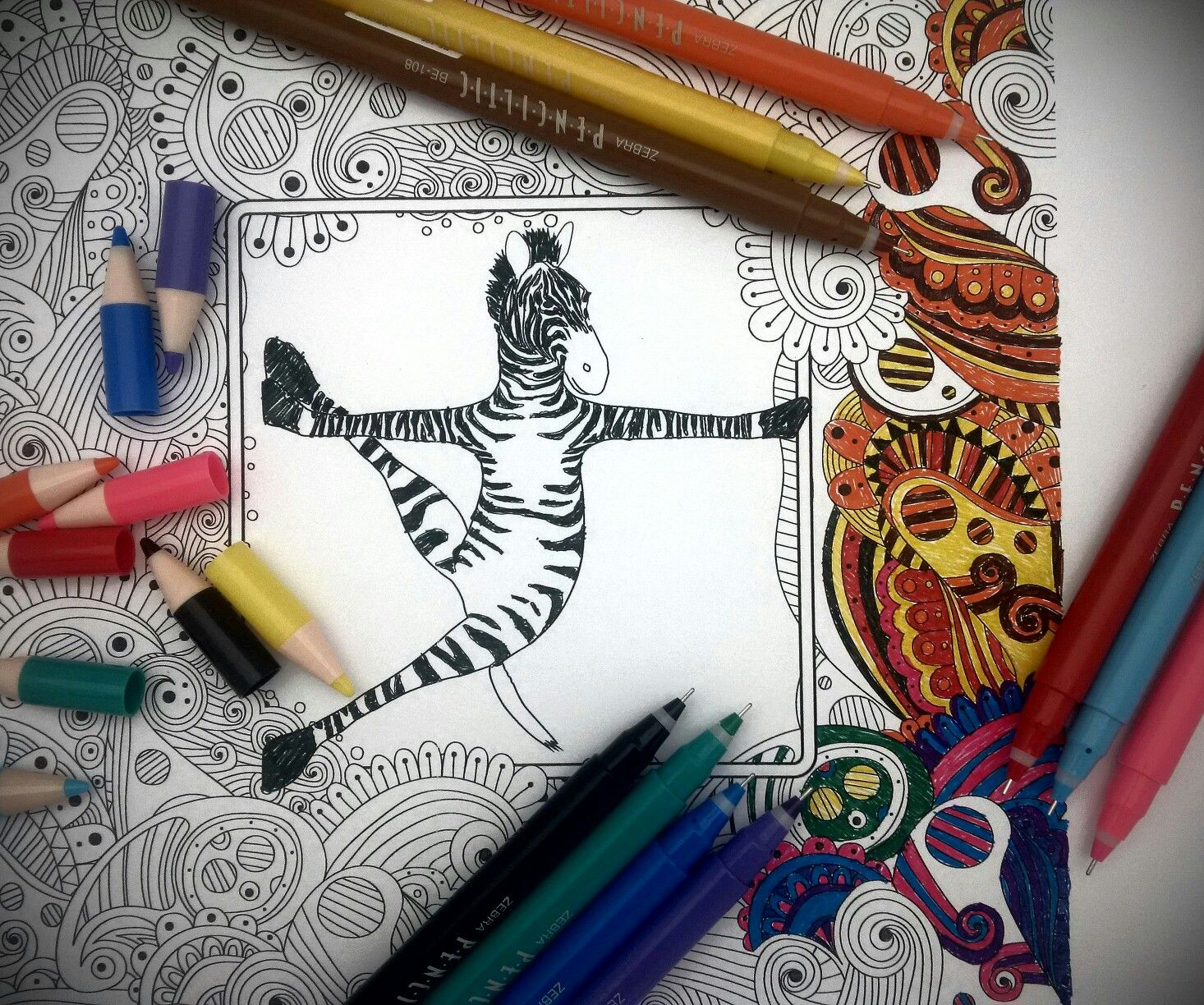 zebra penciltic in action coloring page zebrapen pinterest