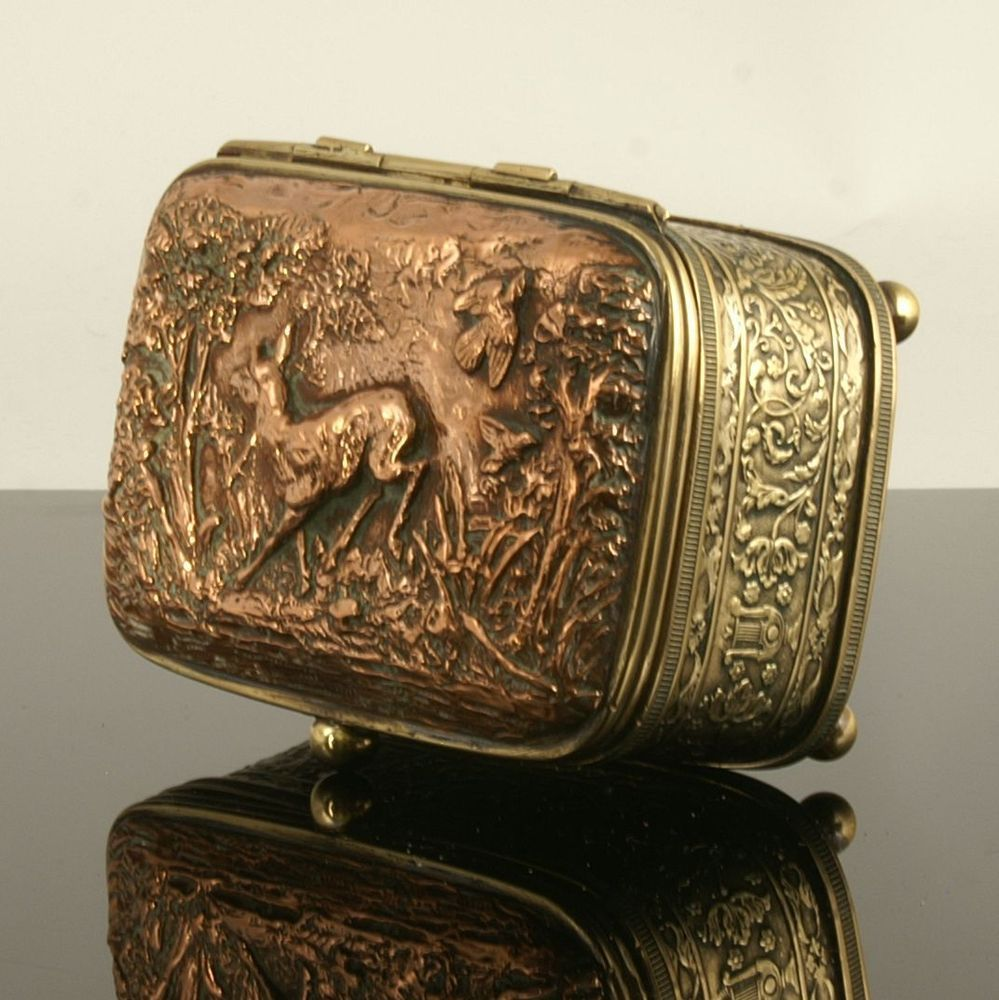 Adorable antique french brass and copper trinket box