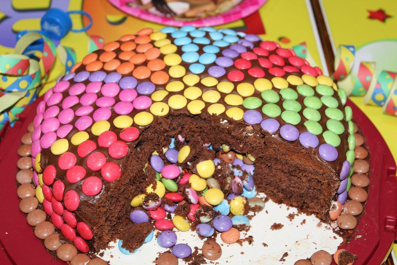 Pinata Kuchen Mit Smarties Fullung Ideal Fur Kindergeburstage Pinata Kuchen Kuchen Ohne Backen Kuchen