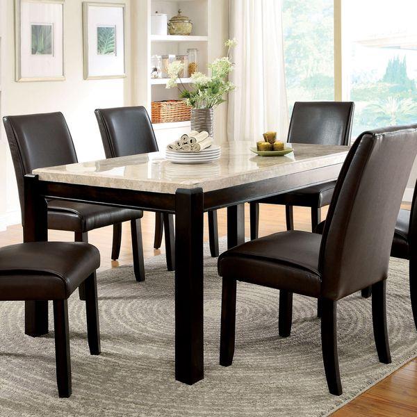 Furniture Of America Joreth Genuine Marble Top Dining Table