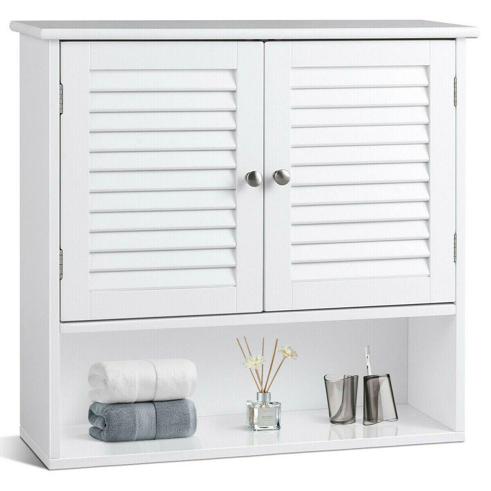Modern Double Doors Shelves Bathroom Wall Storage Cabinet Or