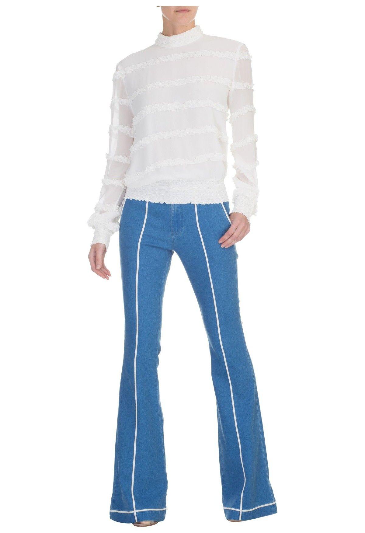 MIXED - Calça jeans flare Consuelo - OQVestir