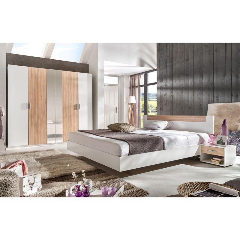 Schlafzimmer Set ILONI166, Alpinweiß, Edelbuche 180cm Bett