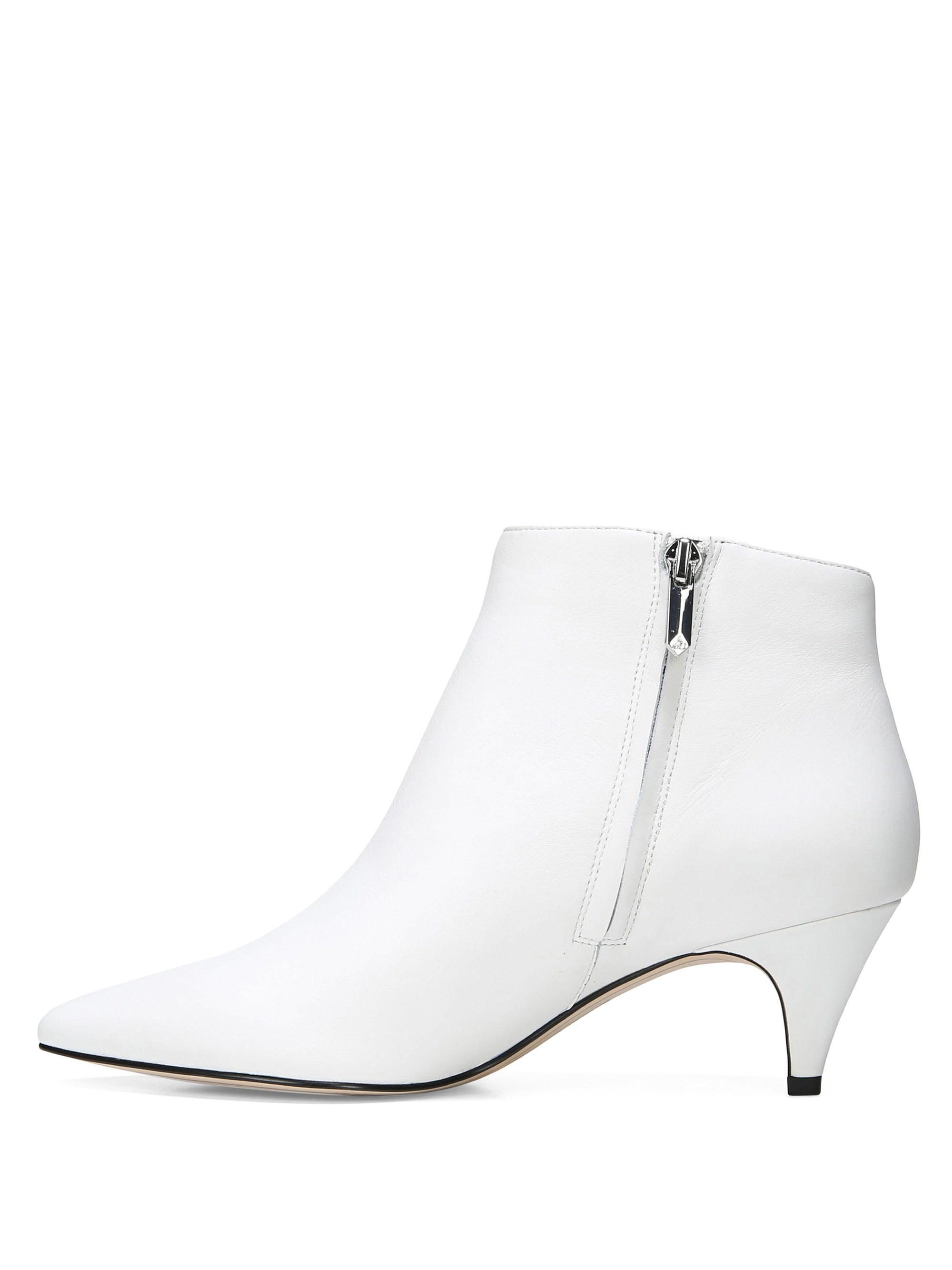 932350a0f5ca7 Sam Edelman Kinzey Leather Kitten Heel Booties - Bright White 7.5