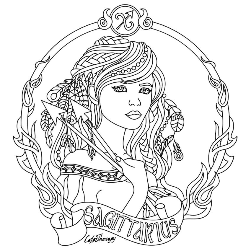 sagittarius zodiac beauty colouring page adult colouring zodiac signs animal coloring pages. Black Bedroom Furniture Sets. Home Design Ideas