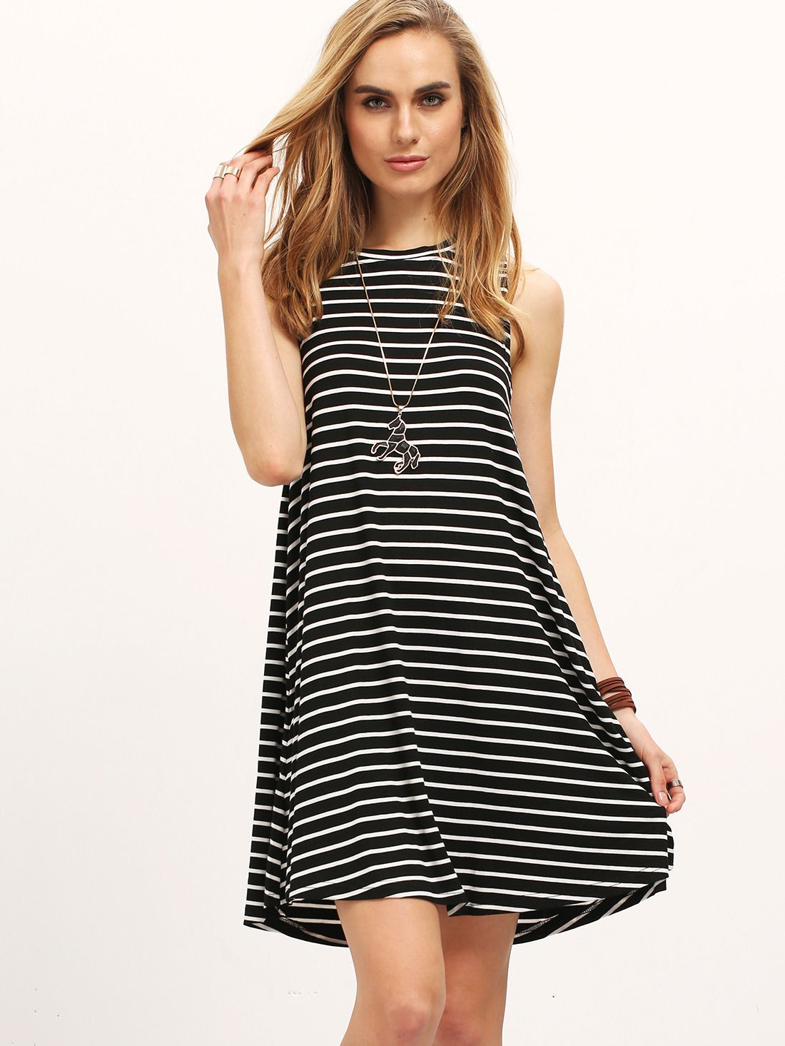 4edc1f1c0b416 Shop Black White Striped Sleeveless Dress online. SheIn offers Black White  Striped Sleeveless Dress & more to fit your fashionable needs.
