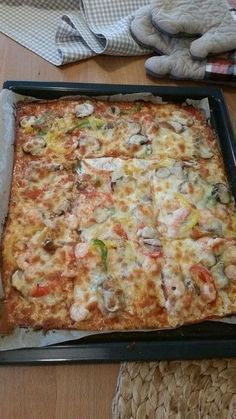 Photo of Best and easiest low carb pizza, with a base of cream cheese, cheese and egg; ketosis